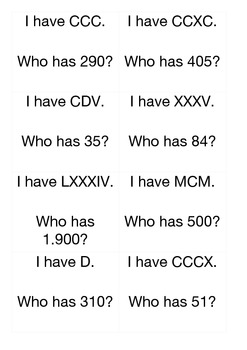 I have - Who has - Roman Numerals and Arabic Numbers - 96 cards