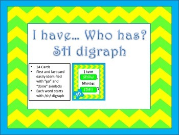"""""""I have... Who has..."""" SH Digraph"""