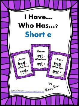 I have... Who has..? Short E Common Core Aligned