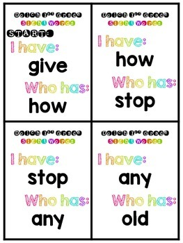 I have, Who has? Sight Words -style {Dolch 1st Grade}