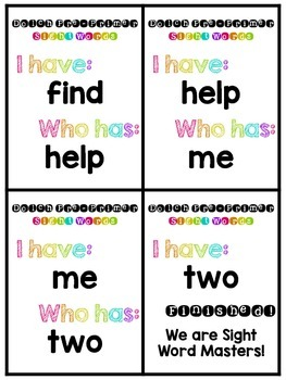I have, Who has? Sight Words -style {Dolch Pre-Primer}
