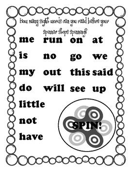 Kindergarten Sight Word Spinner Practice