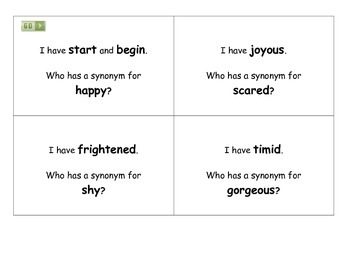 I have... Who has...? - Synonyms