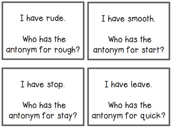 I have Who has Synonyms and Antonyms