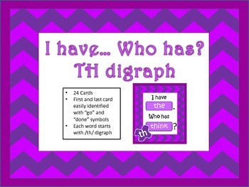 """""""I have... Who has..."""" TH Digraph"""