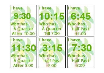 I have... Who has... Telling Time (Half Past, Quarter Past, and Quarter Till)