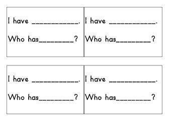I have, Who has Template (Sight Words)