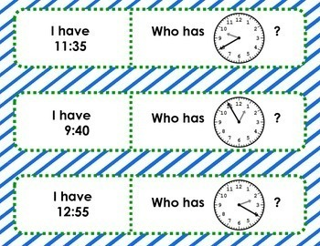 I have . . .  Who has . . . ?  -  Time to 5 Minutes