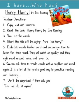 Reading-Listening Activity- I Have...Who Has? Hurry! Hurry! by Eve Bunting