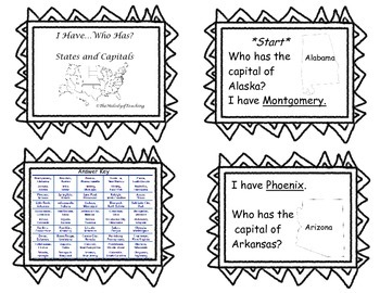 I have, Who has? U.S. States and Capitals