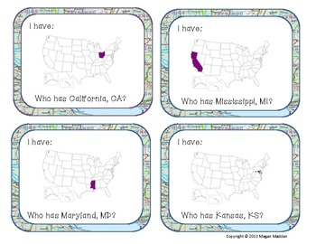 I have, Who has- USA States Cards