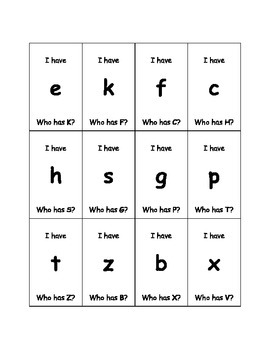 I have, Who has? Upper and lowercase letter recognition game