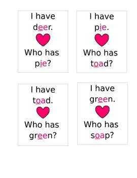 I have, Who has- Vowel Buddies/Vowel Partners