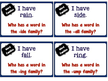 I have Who has Word Families Game