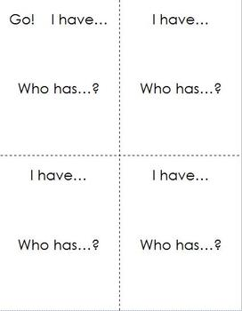 """I have... Who has... ? - customizable 4 1/4"""" x 5 1/2"""" cards"""