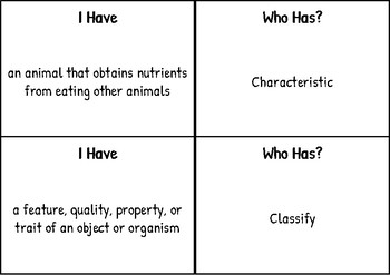 """""""I have Who has"""" for Animal Adaptations- SSA Science Vocabulary"""