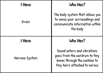 """I have Who has"" for Body Systems-  S.S.A. Science Vocabulary"