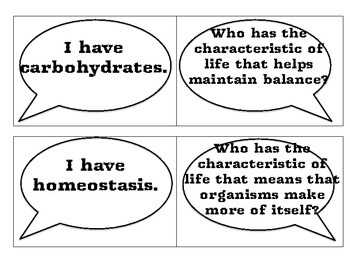 """""""I have, Who has"""" for Cell Structure and Processes"""