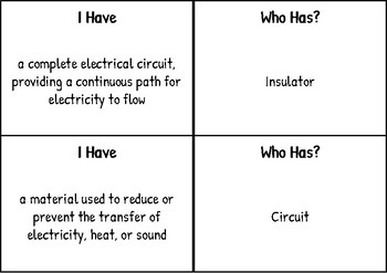 """""""I have Who has"""" for Electricity and Forces -FCAT Science Vocabulary"""