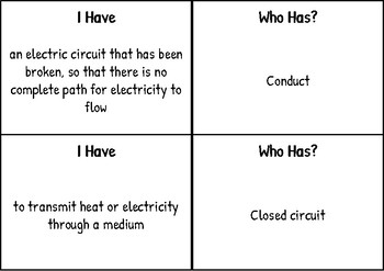 """I have Who has"" for Electricity and Forces - SSA Science Vocabulary"