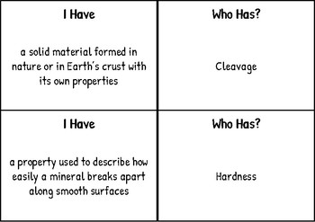 """""""I have Who has"""" for Rocks and Minerals-  SSA Science Vocabulary"""