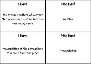 """""""I have Who has"""" for Weather-  FCAT Science Vocabulary"""