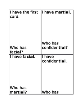 I have/Who has game (words with /tial/ and /cial/)