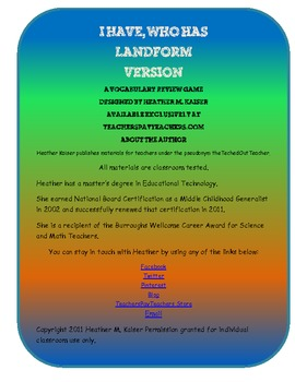 I have, Who has? (landforms version) vocabulary review