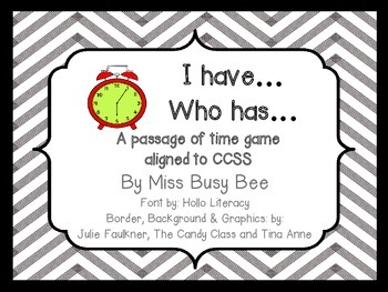 I have... Who has... passage of time game
