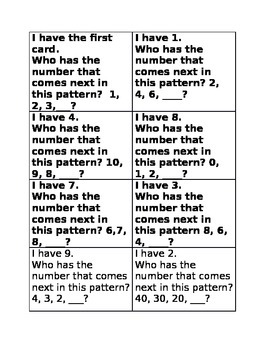 I have Who has patterns Game A