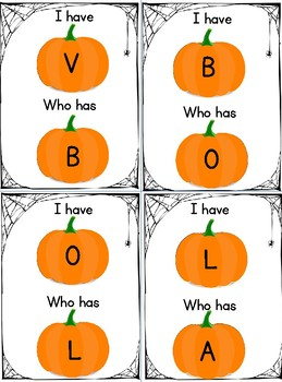 I have/Who has: pumkins (capital letters)