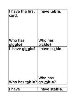 I have-Who has reading words with final stable syllable -le