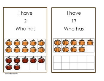 I have, Who has with teen number and 10 frames: Pumpkin Edition
