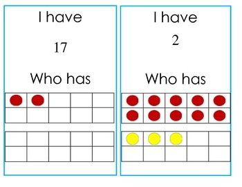 I have, Who has: with teen numbers and 10 frames