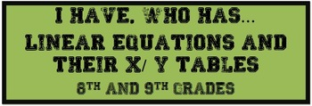 I have, Who has...X/Y Tables and Linear Equations