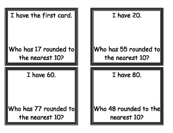 """""""I have... Who Has?"""" Rounding to Tens and Hundreds"""