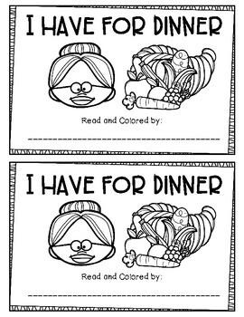 I have for Dinner Emergent Reader