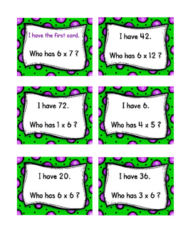 I have, who has : Multiplication facts 1 - 6