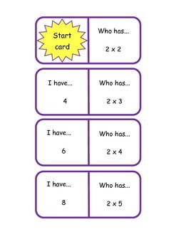 I have, who has 1-5 times tables cards