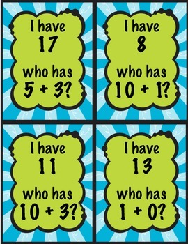 I have who has? Addition to 20 Game 1.OA