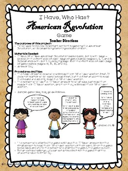 I have, who has? American Revolution Game--two sets!