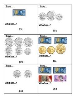 I have, who has? Australian Money