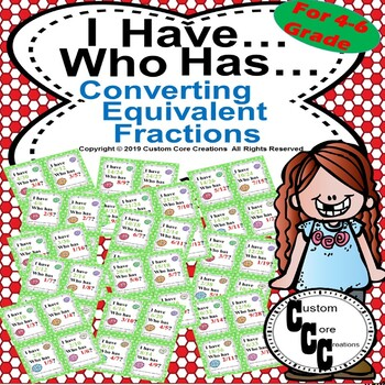 I have, who has? Converting equivalent fractions