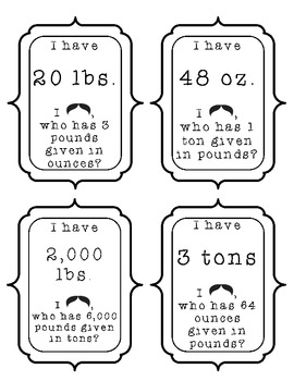 I have, who has Customary Units - Weight