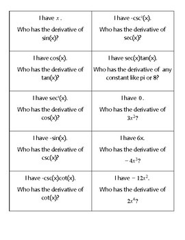 I have who has? Derivatives of Trig and Derivatives using the Power Rule