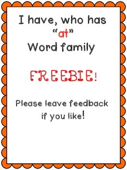 "I have who has FREEBIE ""at"" Word Family"