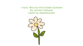 I have who has Final Stable Syllables
