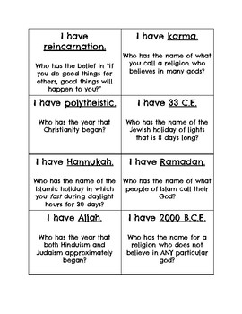 I have, who has? (Five Major World Religions)