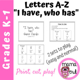 "Letters A-Z ""I have, who has"" Game Cards"