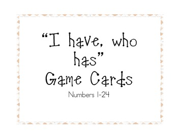 """""""I have, who has"""" Game Cards with Numbers 1-24"""